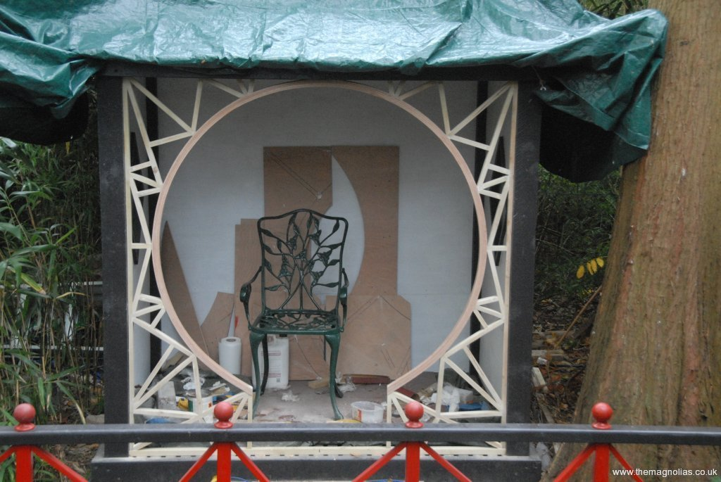 moon-gate front prepared for painting - 18th Oct